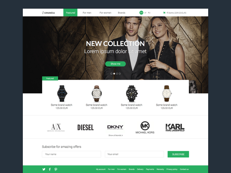 Watch Shop Frontpage watch shop frontpage ecommerce landing page