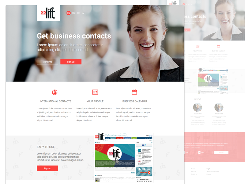 Business contact site sign up page landing page sign up sketchapp clean flat