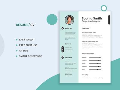 Resume/ CV design resume design resume template graphics template design resume cv graphic design creative design branding adobe photoshop adobe illustrator