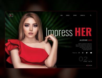 Impress Her girl mockup design banner design banner minimal website ux ui art web design