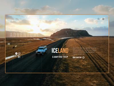 Iceland Camping Trip Landing Page uiux interfacedesign design mockup interface mockup interface website design digital design uidesign ux ui webdesign web website 4wd car trip camping iceland