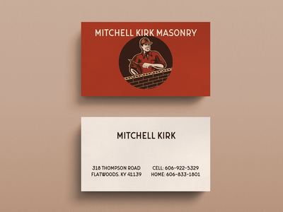 Mitchell Kirk Masonry retro graphic design business cards vintage masonry
