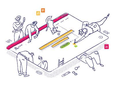 How we work ui ux illustration character design
