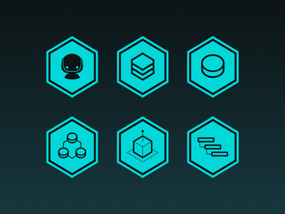 Hexagon Icons interface cyan icons