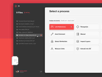 File Process white red black upload tool process document file ui app desktop web