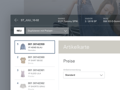Fashion Retailer Interface list ui procress modal interface icon form clean