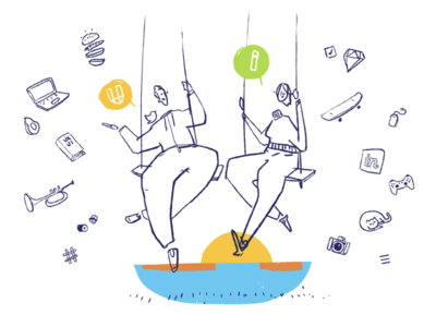 Swing, swing, swing design ui ux icons outline yellow green chat people character illustration