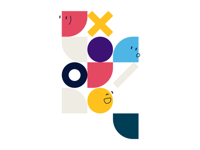 UXI Designing for humans Visual smiley colorfull logo character vector clean illustration humans blocks uxui ui ux