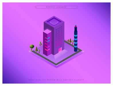 Isometric 3D Design Single Building pervezpjs illustration art perevezjoarder graphic designers graphic designer illustration city illustration 3d design