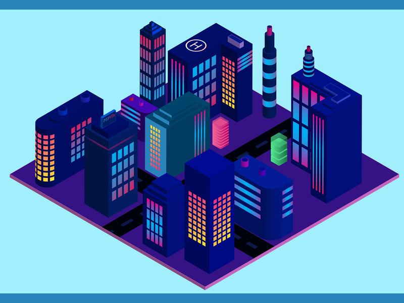 Isomatric City 3D 3d art social media design web template ui ux designer photo editing logo designer illustration pervezjoarder pervezpjs graphic designer 3d design city illustration