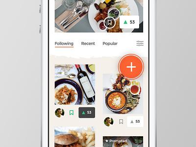 Web App - Feed sketch vote upvote web app app feed food phone
