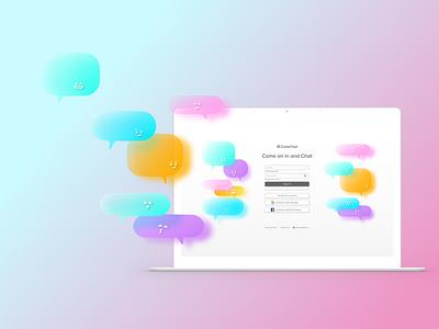 ComeChat glassmorphism glassmorphic chatroom illustration logo branding login page signup sign in app design ux ui