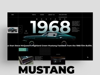 WEB - MUSTANG - 1968 animation app mcqueen mustang car web symbol logo ux ui animal design