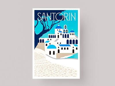 POSTCARDS - SANTORIN branding greece postcard icon marks illustration symbol logo design santorin santorini