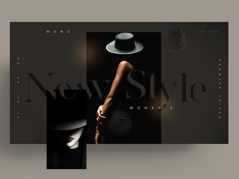 WEBSITE NEWSTYLE model women xd sketch figma website ui ux black mark branding typography identity icon marks illustration symbol logo design