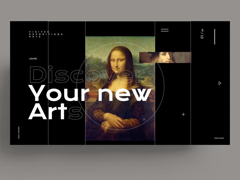 WEBDESIGN - LOUVRE style louvre museum devinci art template webdesign designs xd sketch figma ui ux design