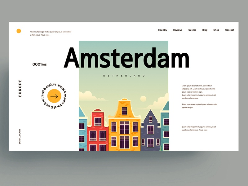 WEBSITE - AMSTERDAM logo branding design web design netherland europe roadtrip travel amsterdam sketch xd figma webdesign template graphic ui ux web