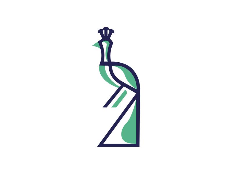LOGO PEACOCK bird peacock black mark animal branding identity icon marks illustration symbol logo design