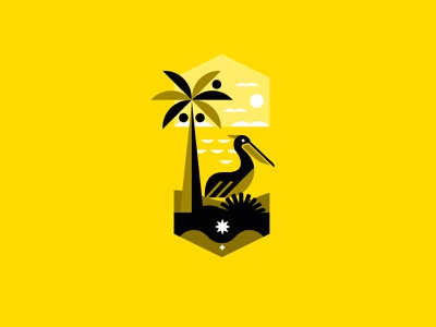 ILLUSTRATION - PELICAN tropical beach pelican holiday wave sea black mark animal branding identity icon marks illustration symbol logo design