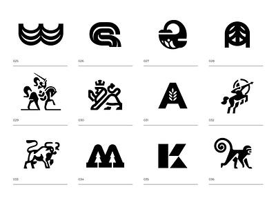 LOGO ARCHIVE - 3 farm tree whale kawaii monkeys taurus leo knight monkey black mark animal branding identity icon marks illustration symbol logo design