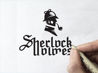 Sherlock holmes holmes black marks novel graphic illustration sherlock icon design logo man