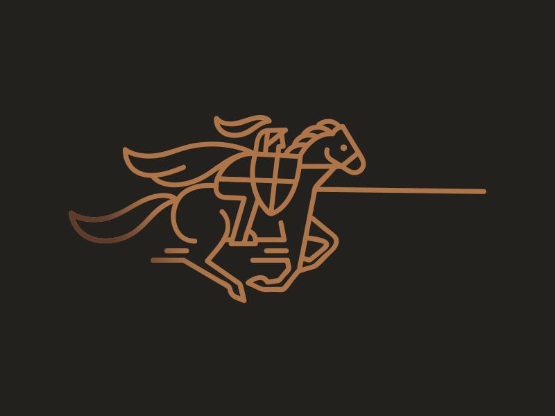 knight  gold castle symbol mark logotype logo knight illustration identity horse design animal