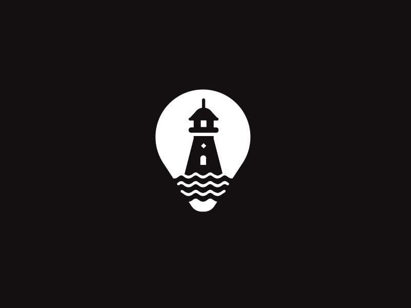 Lighthouse / bulb white black illustration building light bulb sea symbol marks logo lighthouse