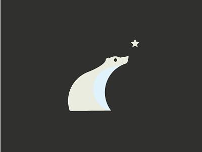 Bear simple illustration marks white artic animal design stars logo polar bear polarbear
