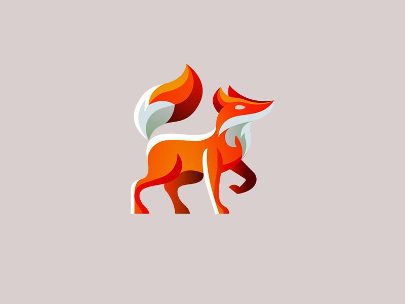 strutting fox mascot full body