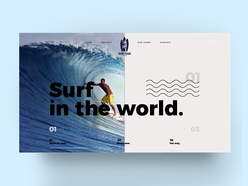 Surf / web website ux ui product interface grid fashion e-commerce design concept surf animation