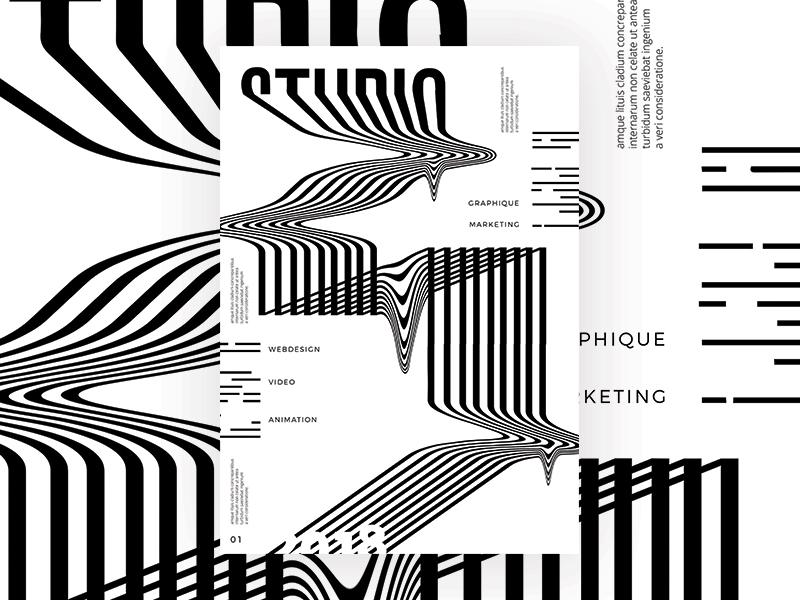 POSTER STUDIO line design layout white black studio marks brand font illustration branding print