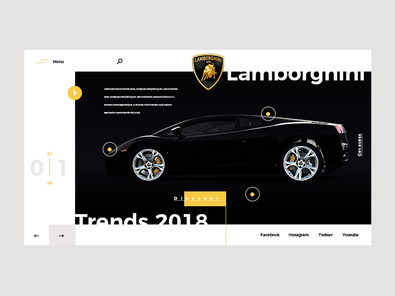 Web page lamborghini by matthieumartigny for Wantedesign on