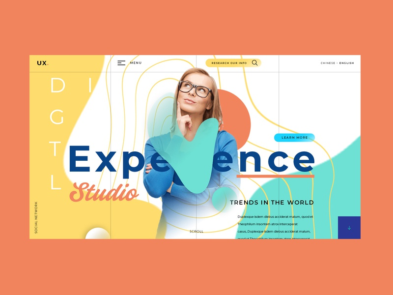 Experience / page grid mode interface fashion photography typography art modern template line letter ux ui typography branding animal icon marks illustration symbol design