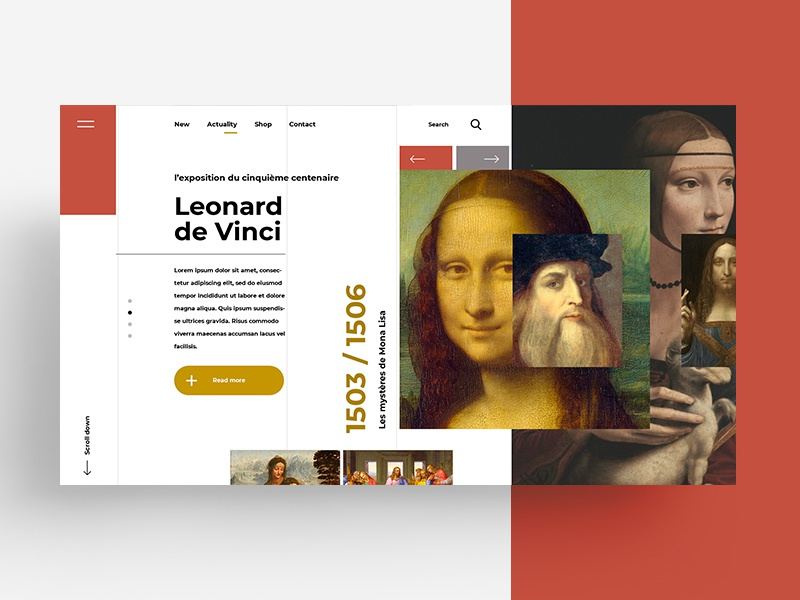 web ACTUALITY marks illustration symbol monalisa leonarddevinci art shop lettering type minimal flat animation web typography app ux identity ui branding website