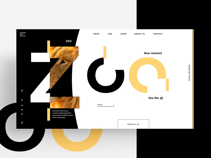 WEB - zoo zoo animals black branding lettering type minimal website flat illustration design logo animation web app ux marks animal identity ui