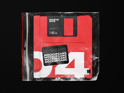 Floppy Disk Mockup sticker diskette wrap design branding product modern template disk floppy floppydisk download mockup psd mockup