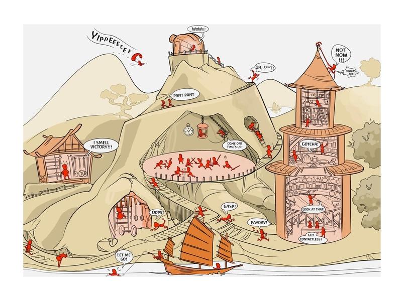 city sketch game concept illustration