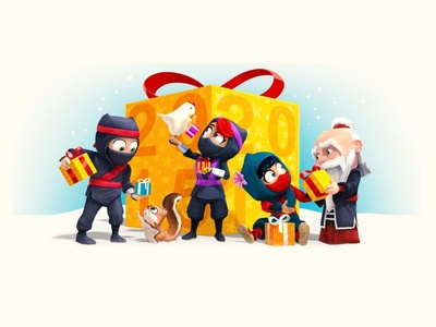 Clumsy Ninja XMasCard2015 game illustration