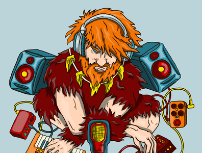 "Music album cover ""Caveman"" caveman speakers headphones synthesizer music instruments electronic music album cover illustration"