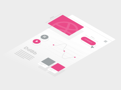 Hello Dribbble! ui isometric illustration