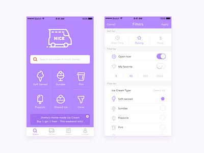 Nice - Ice cream delivery app filter icon delivery icecream app