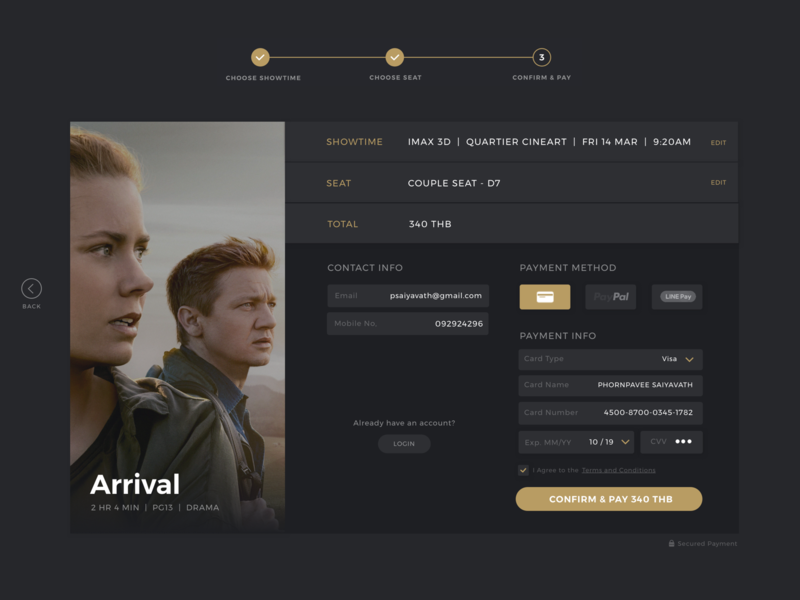 Movie check out form dark colors form checkout payment movie ui