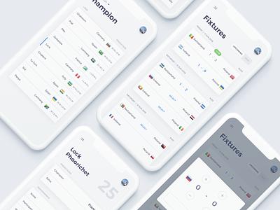 Football game prediction white background ui design mobileapp webapp match scoreboard soccer app football app football