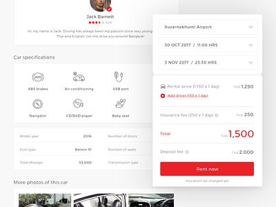 Peer to peer car rental automobile automotive ui rental listing marketplace web application webdesign car