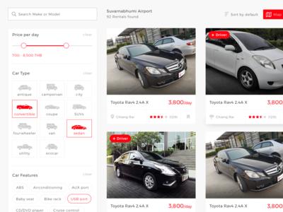 Peer to peer car rental - Search result