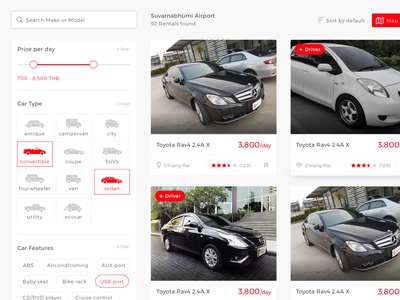 Peer to peer car rental - Search result automobile automotive rental marketplace web application webdesign filter search results search car
