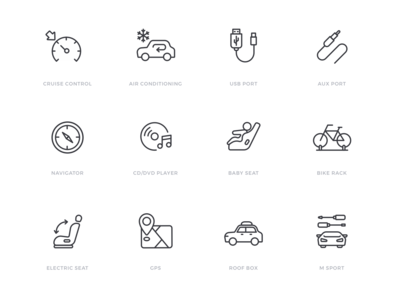 Car specification icon set