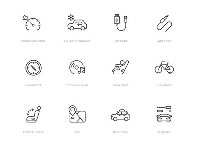 Car specification icon set automobile automotive car linear icons line icons icon sets icon