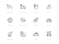 Car specification icon set automobile automotive car linear icons line icons icon sets icon