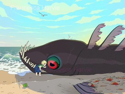 Beached monster fantasy scifi science fiction narrative illustration